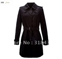 Best  Quality  OL's Fashion Solid Double Breasted with turn  Collar Casual  Slim Pleated in Back Trenchcoat ,2012