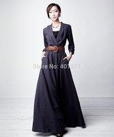 D124  S-6xl  2014 new high quality women's new Custom made  long linen dress maxi dress