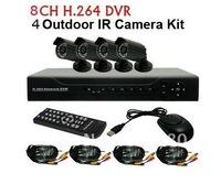8CH H.264 Standalone Network CCTV DVR 4pcs CMOS 6mm lens Outdoor IR Camera VIdeo System Kit