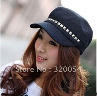 1pcs,2013 spring and summer  men and women fashion hats, rivets Navy sailor Baseball cap,black adult topper, free shipping