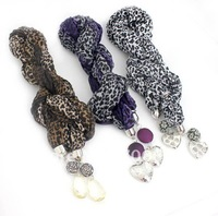 6pcs/lot, 2013 fashion magic jewelled leopard  necklace  scarf,autumn scarves,mixed colors, original factory supply