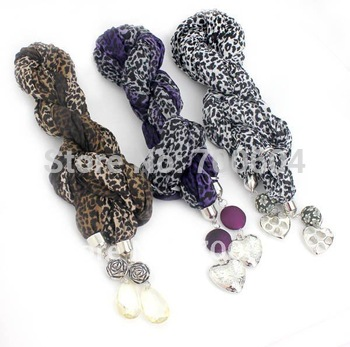double heart magic jewelled leopard  necklace shawl pashmina wraps scarf,autumn scarves,mixed colors, original factory supply
