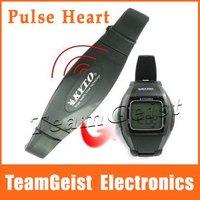 6/lot Wireless Wrist Heart Rate Watch with 5.3K Chest strap Belt & WaterProof Digital Pulse moniter Calorie counter EL Stopwatch