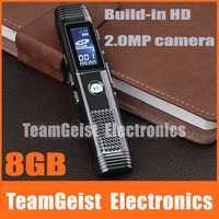 Zinc alloy Metal Professional 8GB Digital Voice Video Recorder LCD Screen Built-in HD 2.0MP camera, Hi-Fi speaker Free Shipping