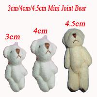 Wholesale 60pcs/Lot  Plush Mini Joint Teddy Bear Fashion Pendant For Key/Phone/Bag For Christmas Gifts 3cm/4cm/4.5cm Mixex Size