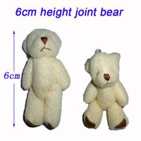 New Arrival H=6cm Plush Joint Bear Pendant For Key/Phone/Bag For Christmas Gifts Stuffed Wholesale 100pcs/Lot