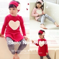 children's clothing sets female child autumn love top legging hair bandsset 2013 fashion causal sets freeshipping