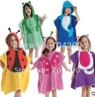 Retail- Baby Hooded Poncho kids bath towel/Animal Modeling Swimming bathrobe