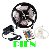 RGB LED Strip Light Flexible 3528 5M/Reel SMD Non Waterproof DC 12V +IR Remote Controller+2A Power Supply Free Shipping 1set/lot