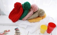 [Vic] Wholesale, 10pes/lot more color Handmade Wool Woman Winter Crochet Knit Beanie Hat M032 + Free Shipping