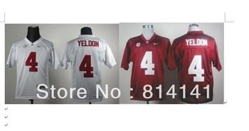 Wholesale-Free Shipping College Football Jersey Alabama Crimson Tide T.J Yeldon #4 Crimson White  2012 SEC Patch