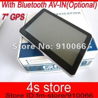 Free shipping GPS navigation 7 inch  DDR 128MB with 4GB memory + FM+Bluetooth AV-IN ,  HD 800*480 screen