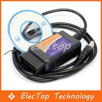 Free shipping ELM327 Interface OBD2 OBD ELM 327 Auto Scanner USB Car Diagnostic Tool 30pcs/lot Wholesale