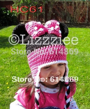 free shipping, Beautiful  Handmade Crochet baby Bowknot mickey Ear Flap Hat, children's Bonnet/beanie Hat caps