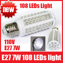 Ultra Bright 6000-6500k E27 7W 110V 108 LEDs Light Bulb Corn Lighting LED Lamp, Free Shipping(China (Mainland))