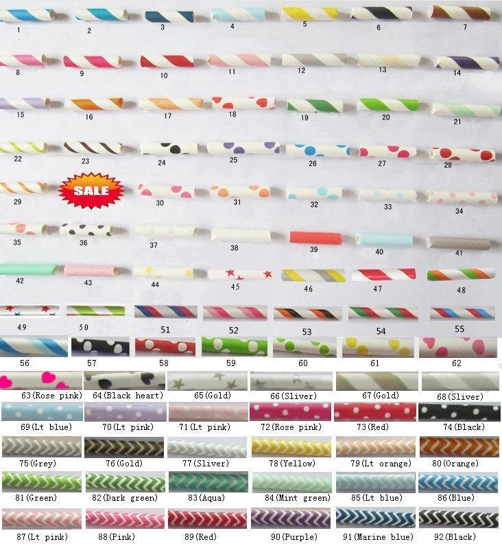 1000pcs Free shipping Paper Straws, Chevron Patterns & Striped & Polka Dots Drinking Paper Straws 92 colors mix 25pcs packing(China (Mainland))