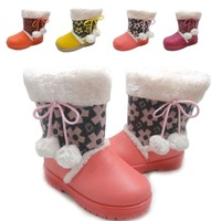 Free shipping fashion winter girl's snow boots children cotton-padded shoes warm shoes wool anti-slip soles wholesale retail