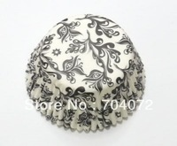 wholesale-free shipping 100pcs BIG promotion / ON SALE - damask baking cups muffin cases paper cupcake liners for wedding party