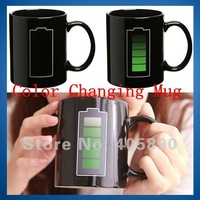 Battery Color Changing Mug with Energy Saving Icon Heat Sensitive Temperature Coffee Tea Cup Novelty Gift