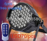6pcs/Lot,54pcs x 3W RGB / RGBW LED Par Lights with Remote Control Hand in Hand Par Can Disco Equipment