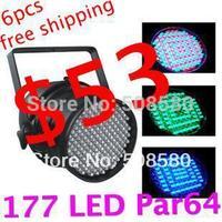 Aluminum 177pcs x 10mm RGB LED Par64 Lights DMX/Auto/Sound black/silver housing