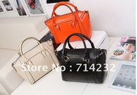 Free shipping 1pc Hot Elegant Women Bags Handbag Lady PU Handbag PU Leather Shoulder Bag Handbags black ,ivory white, orange