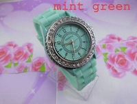 christmas gift sale good quality Geneva 11 colors  Silicone watch ladies women students Crystal Wrist Jelly Watches mint green