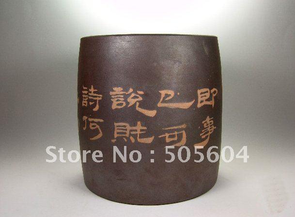 Antique style furniture porcelain/pottery unglazed unique business gift pen holder(China (Mainland))