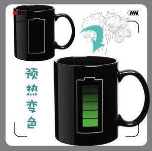 New Arrival Battery change color glass temperature ceramic colour cup mug,60pcs/lot
