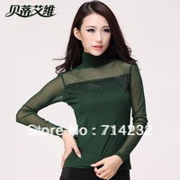 Free shipping new  2013 Autumn korean version womens long sleeve turtleneck plus size T-shirts large size slim fit woman t-shirt