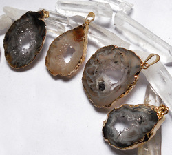 YA0044 Natural Geode Agate Druzy Slice Plated Gold color Pendant 35-45mm(China (Mainland))