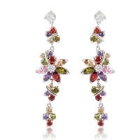 A88229 Fashion color/garnet red Cubic Zirconia 18kt white gold filled earrings long Zircon women earrings