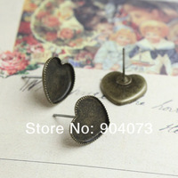 Wholesale 10mm/12mm Antique Bronze Copper Earring studs Peach heart tray,Brass stud earrings accessories,earrings base setting