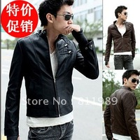 2012 Free shipping Simple double collar short slim leather jacket male leisure washed locomotive leather Men's leather Cool Leat