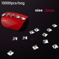 10000pcs/bag Gold & Silver Nail Metallic Decoration 3D Metal alloy Nail Art Decoration + Free Shipping
