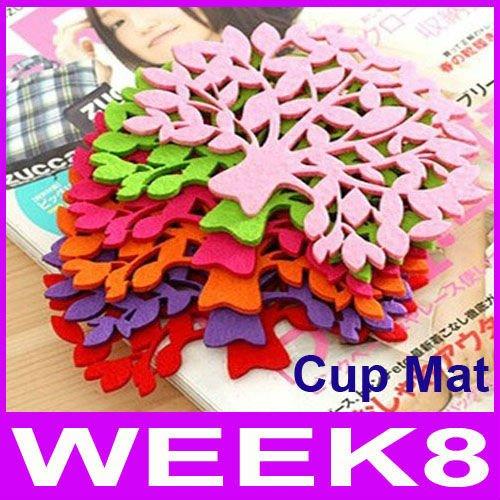 Colorful Felt Tree Design Cartoon Cup Mat Sweet Cup Pad Coaster Cushion 200pcs/lot By EMS Free Shipping(China (Mainland))