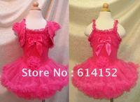 HOT SALE!5PCS/lot hot pink baby pettiskirt tutu dress,2 pcs ses dress with vest/dancing skirt,girls dress set