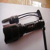 Free Shipping 1600 Lumens CREE XM-L T6 LED Tactical Flashlight Torch Shotgun/Rifle Remote Pressure Switch Hunting light 1Mode