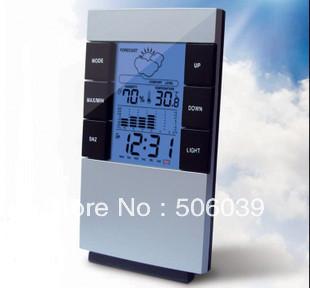 free shipping 3210 big screen multifunctional electronic hygrometer table clock zone clock luminous lamp alarm clock