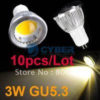 10pcs/Lot New 3W GU5.3 High Power COB LED SMD Warm White Spot Light Bulb Lamp 85V-265V Free Shipping