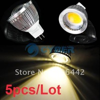 5pcs/Lot New 5W MR16 High Power COB LED Lamp Bulb Warm White 12V Free Shipping
