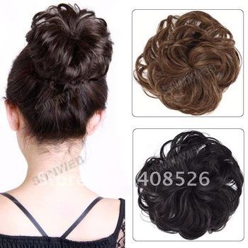 Pony Tail Hair Extension Bun Hairpiece Scrunchie Wavy hair Black, Black Brown, Light Brown, Deep Brown Free Shipping 7194