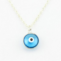 Turkish Evil Eye Necklace 12mm glaze pendant light blue nazar boncuk 10pcs/bag