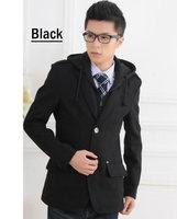 2013 Korean style New men's blazer wool coat  man's hooded jacket casual suit Winter warm outerwear Black