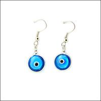 Evil eye Earrings light blue bead 12mm hoop earrings lucky eyes Jewelry