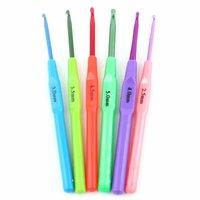 6Sizes Multicolor Plastic Crochet Hooks Needles 2.5-5mm