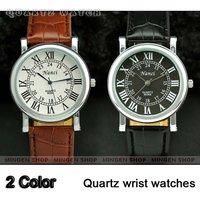 Hot MINGEN SHOP - 2 pcs Classic Round Dial Roman Numerals Leather Band Gentle Men Suit Cuff Watch Q358/359 Gift wholesale