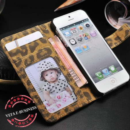 Leopard leather case for iphone5 wallet case for iphone 5g with 2 card holder, for iphone 5 standing case new arrival(China (Mainland))