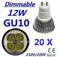 20pcs Dimmable LED High power GU10 4x3W 12W led Light led Lamp led Downlight led bulb spotlight FREE FEDEX and DHL