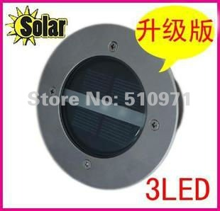 Free shipping!!! Outdoor Solar Ground Lamp +3pcs Birght LED Solar LED Garden lawn light+Stainless steel material, 2PCS/lot(China (Mainland))